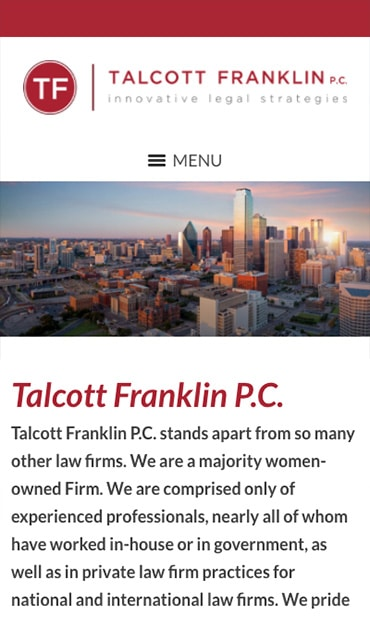 Responsive Mobile Attorney Website for Talcott Franklin P.C.