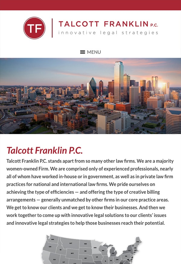 Mobile Friendly Law Firm Webiste for Talcott Franklin P.C.