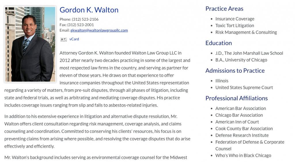 Gordon Walton Attorney bio bullets