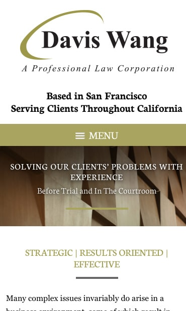Responsive Mobile Attorney Website for Davis Wang