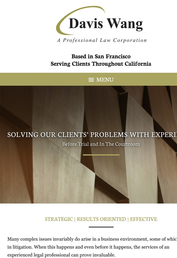 Mobile Friendly Law Firm Webiste for Davis Wang