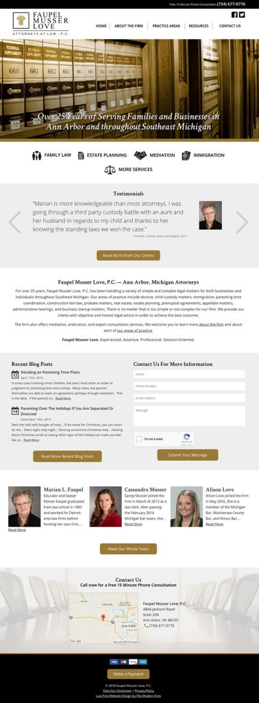 Ann Arbor Michigan Law Firm Website Design - Faupel Musser Love