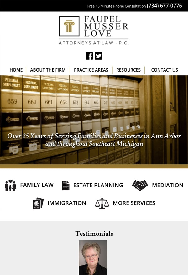 Mobile Friendly Law Firm Webiste for Faupel Musser Love, P.C.