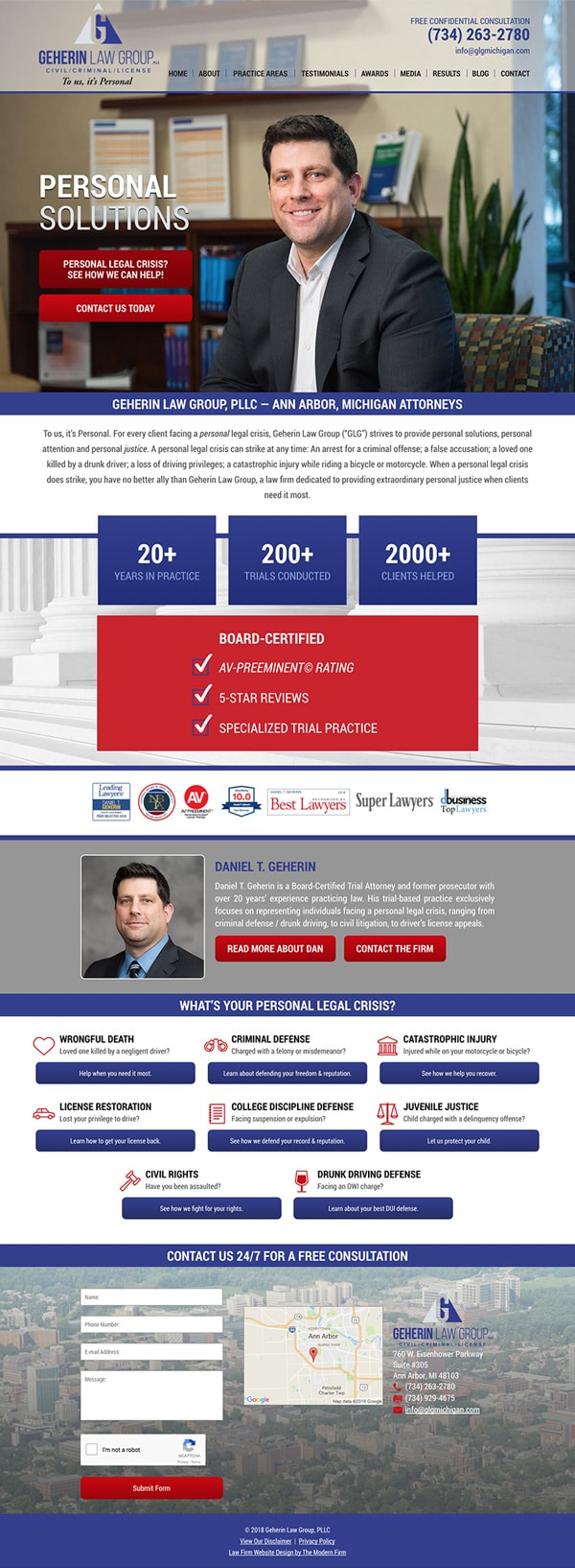 Law Firm Website Design for Geherin Law Group, PLLC