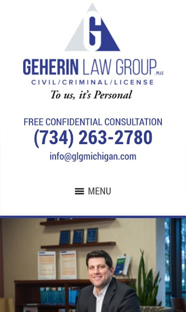 Responsive Mobile Attorney Website for Geherin Law Group, PLLC