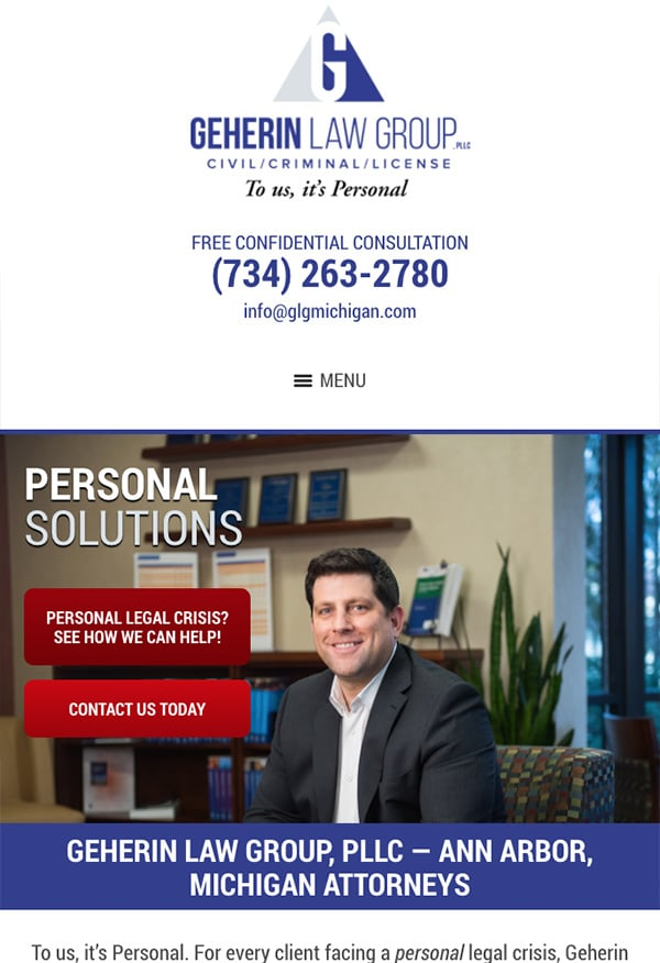 Mobile Friendly Law Firm Webiste for Geherin Law Group, PLLC