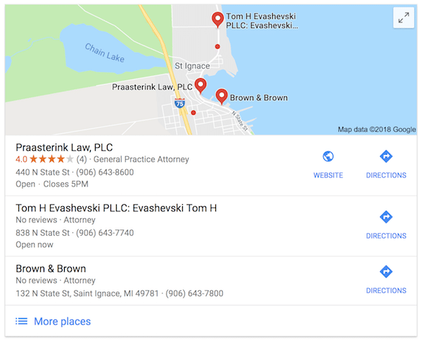 Law Firm Local Search Results