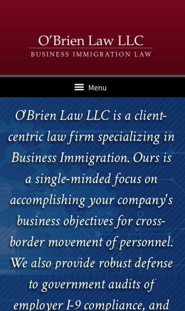 Responsive Mobile Attorney Website for O'Brien Law LLC