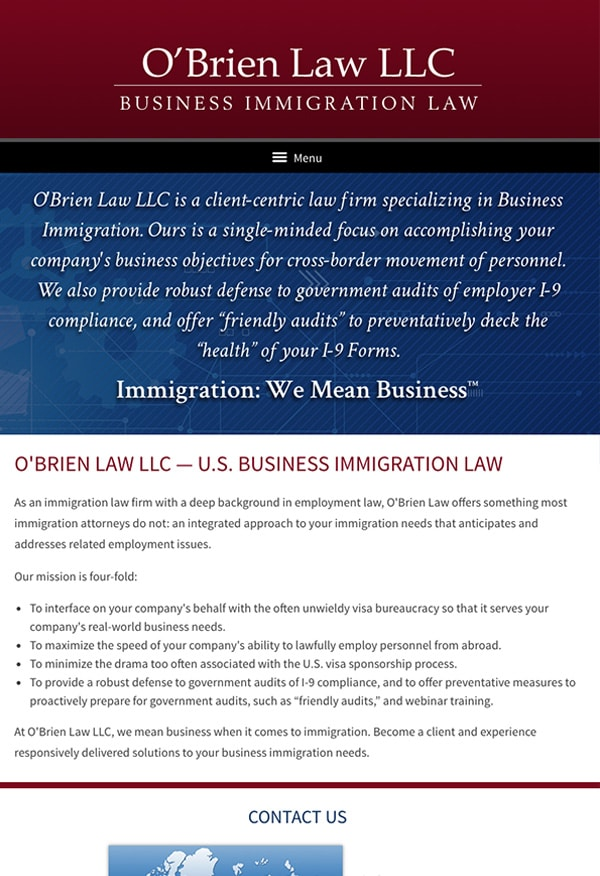 Mobile Friendly Law Firm Webiste for O'Brien Law LLC