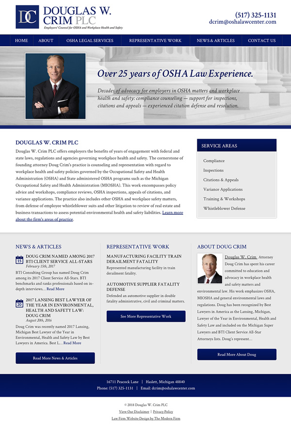 Michigan OSHA Law Firm Website Design