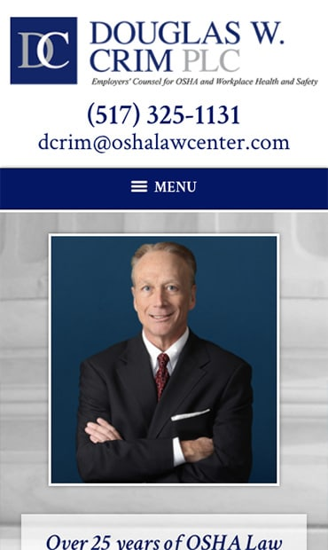 Responsive Mobile Attorney Website for Douglas W. Crim PLC