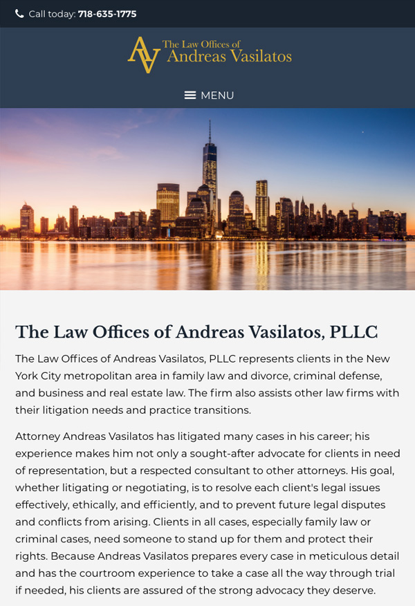 Mobile Friendly Law Firm Webiste for Law Offices of Andreas Vasilatos, PLLC