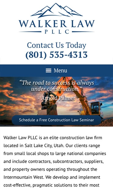 Responsive Mobile Attorney Website for Walker Law PLLC