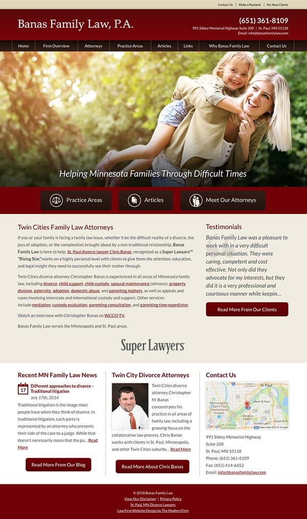Law Firm Website Design for Banas Family Law, P.A.