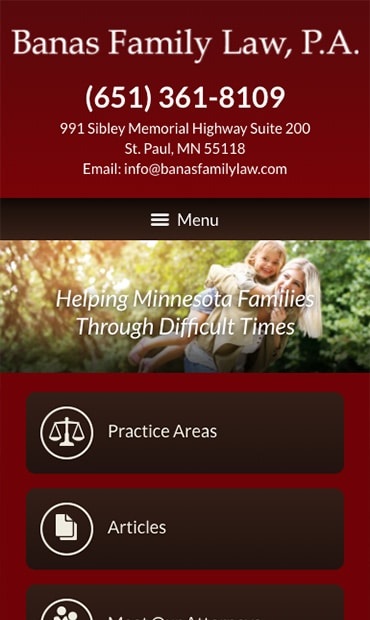 Responsive Mobile Attorney Website for Banas Family Law, P.A.