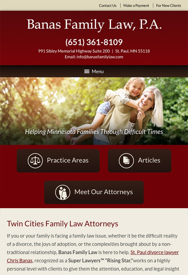Mobile Friendly Law Firm Webiste for Banas Family Law, P.A.