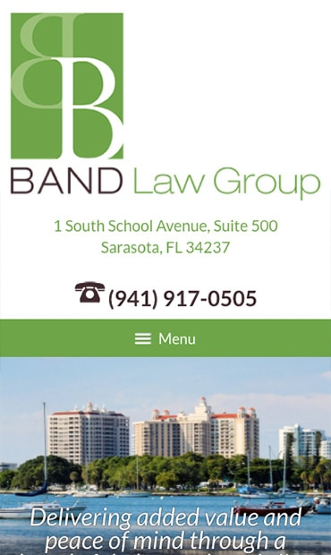 Responsive Mobile Attorney Website for Band Law Group