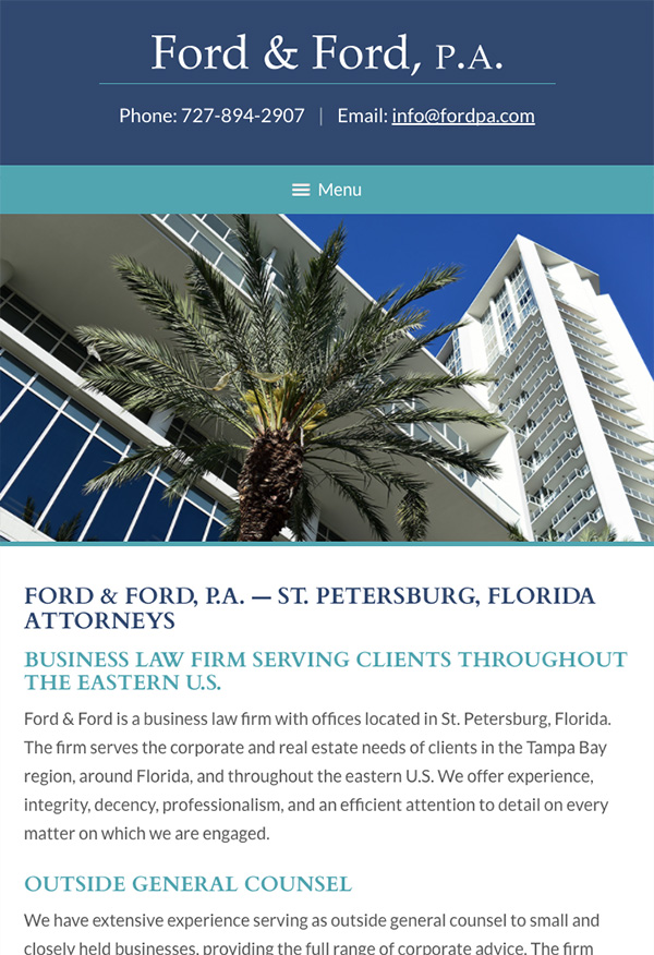 Mobile Friendly Law Firm Webiste for Ford & Ford, P.A.