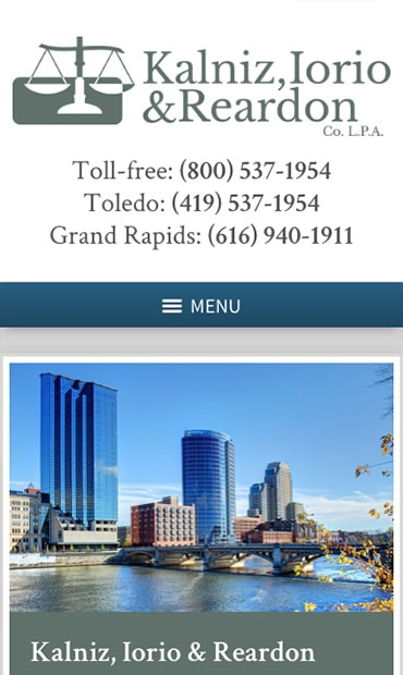 Responsive Mobile Attorney Website for Kalniz, Iorio & Reardon Co. L.P.A.