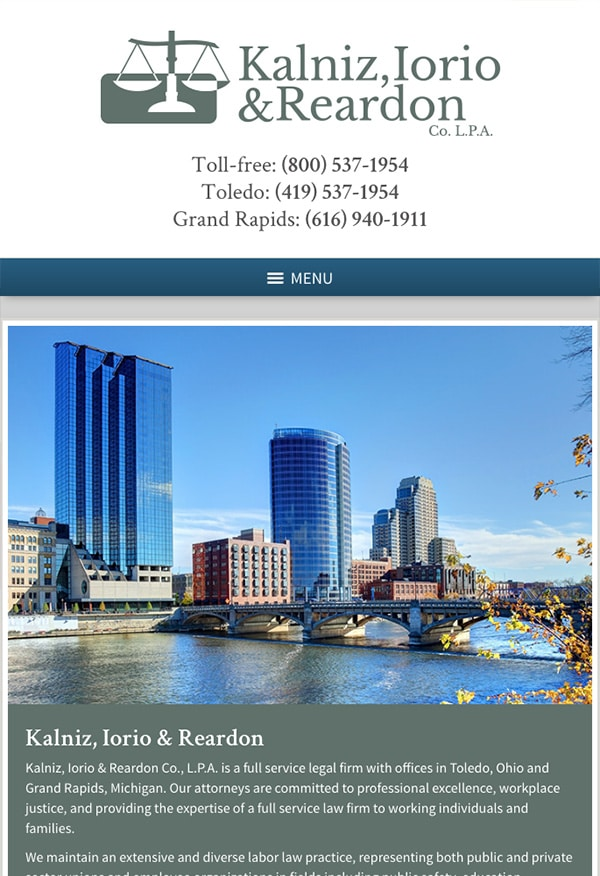 Mobile Friendly Law Firm Webiste for Kalniz, Iorio & Reardon Co. L.P.A.
