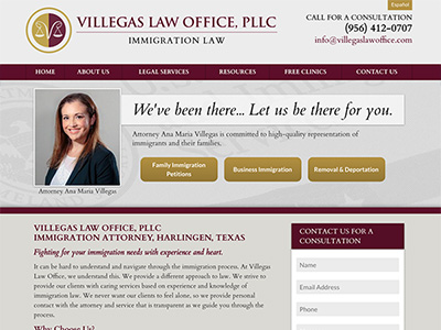 Law Firm Website design for Villegas Law Office, PLLC