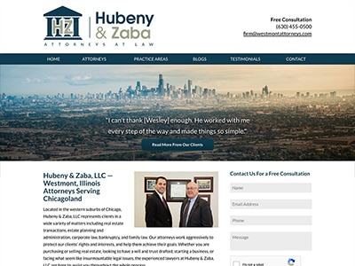 Law Firm Website design for Hubeny & Zaba, LLC