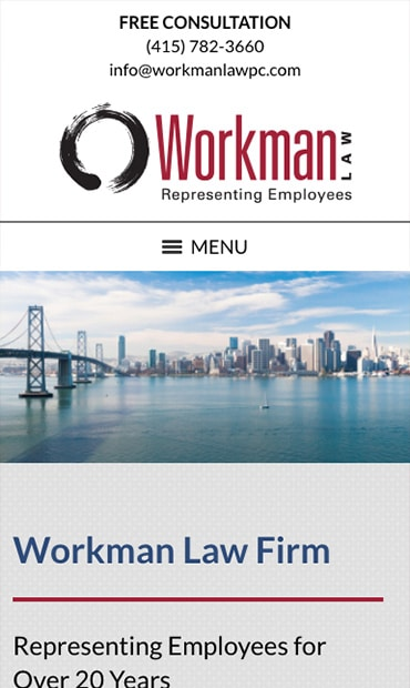Responsive Mobile Attorney Website for Workman Law Firm, PC