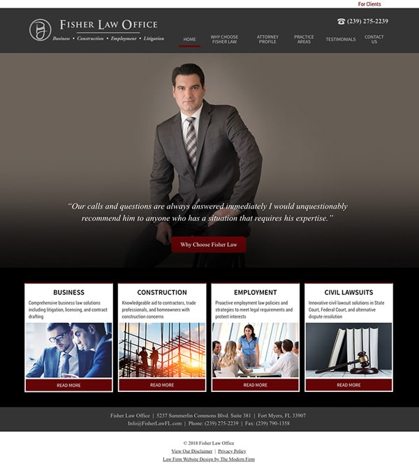 Law Firm Website for Fisher Law Office