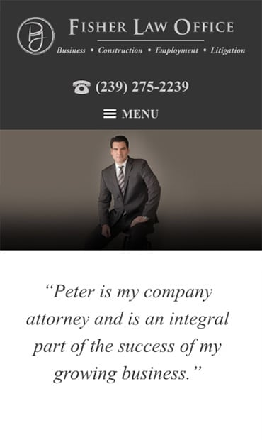Responsive Mobile Attorney Website for Fisher Law Office
