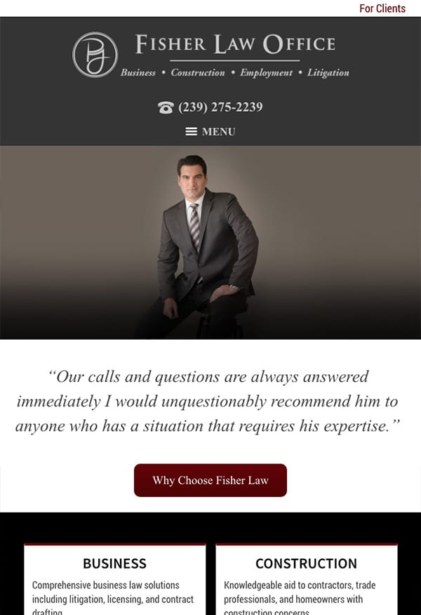 Mobile Friendly Law Firm Webiste for Fisher Law Office