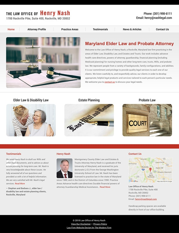 Law Firm Website Design for Law Office of Henry Nash
