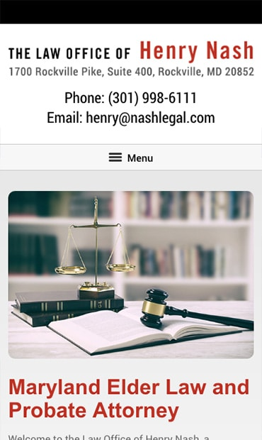 Responsive Mobile Attorney Website for Law Office of Henry Nash