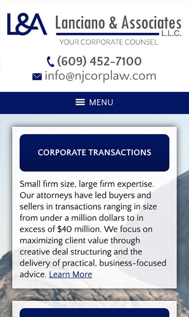 Responsive Mobile Attorney Website for Lanciano & Associates, L.L.C.