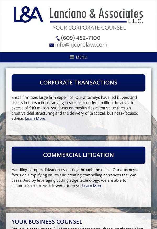 Mobile Friendly Law Firm Webiste for Lanciano & Associates, L.L.C.