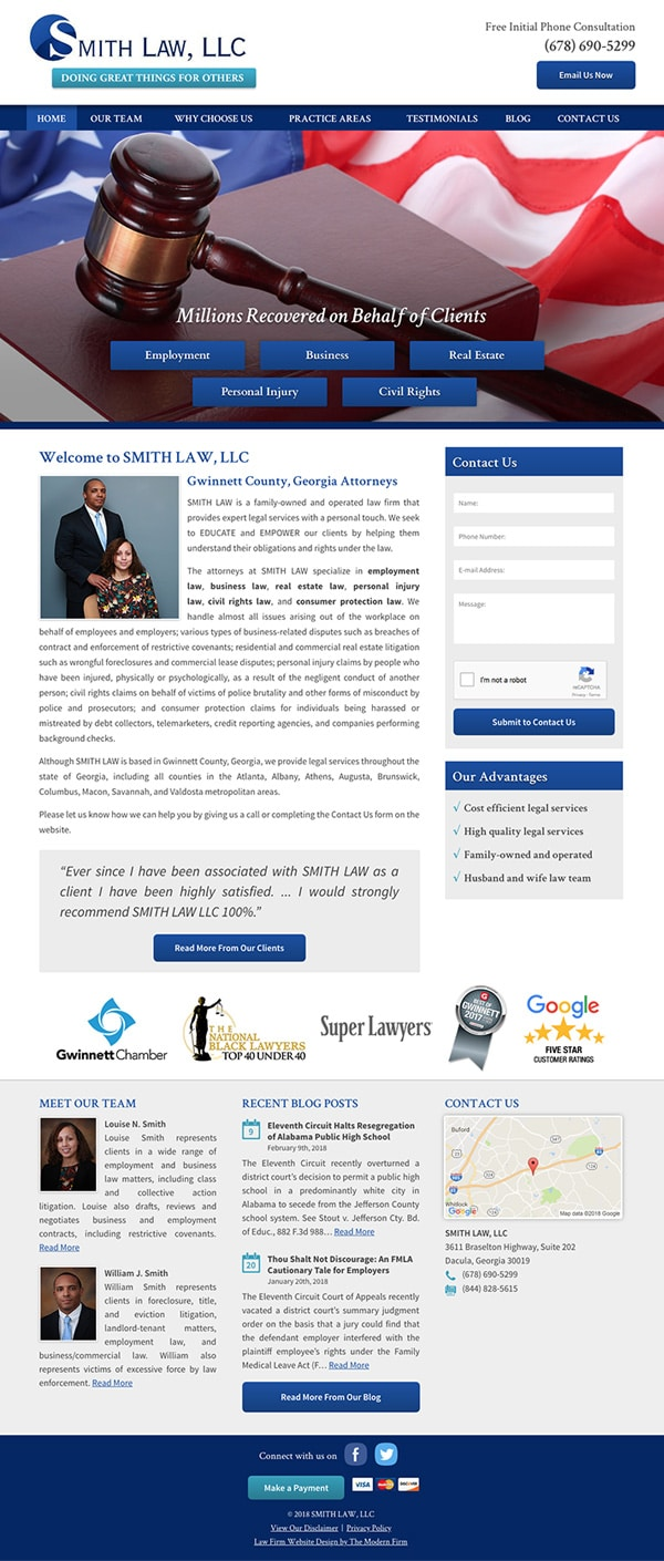 Law Firm Website Design for SMITH LAW, LLC