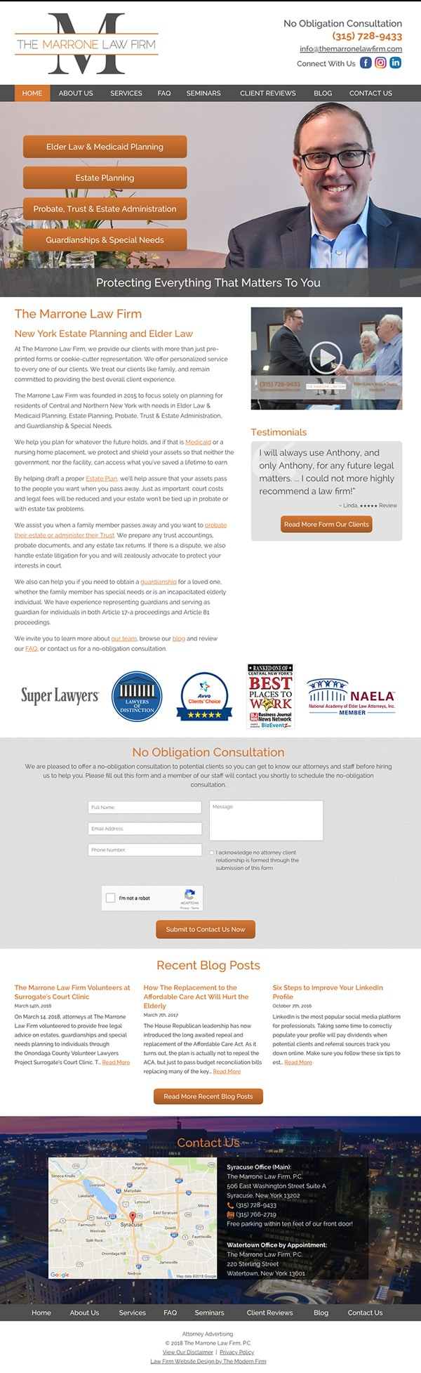 Law Firm Website Design for The Marrone Law Firm, P.C.