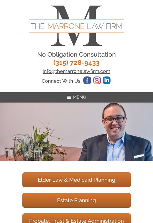 Mobile Friendly Law Firm Webiste for The Marrone Law Firm, P.C.