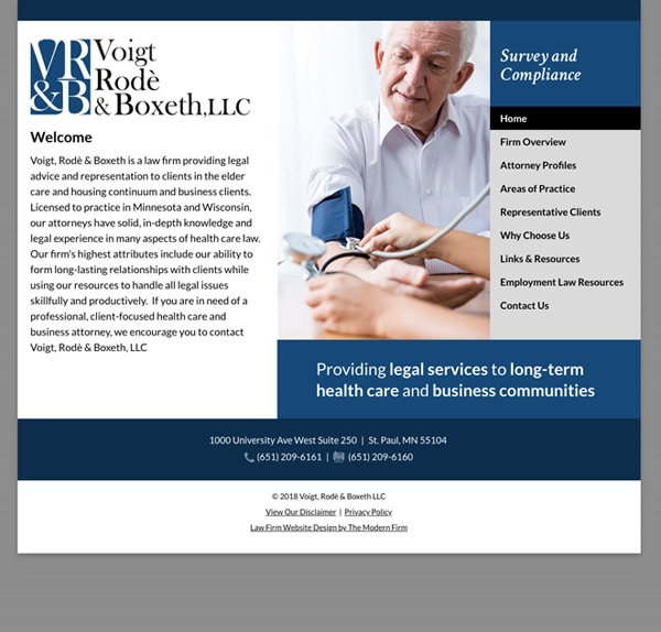 Law Firm Website Design for Voigt, Rode & Boxeth LLC