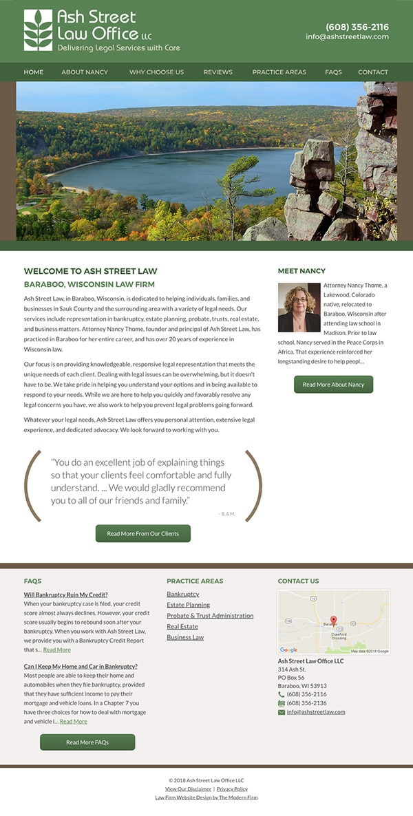 Law Firm Website Design for Ash Street Law Office LLC