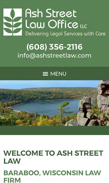 Responsive Mobile Attorney Website for Ash Street Law Office LLC