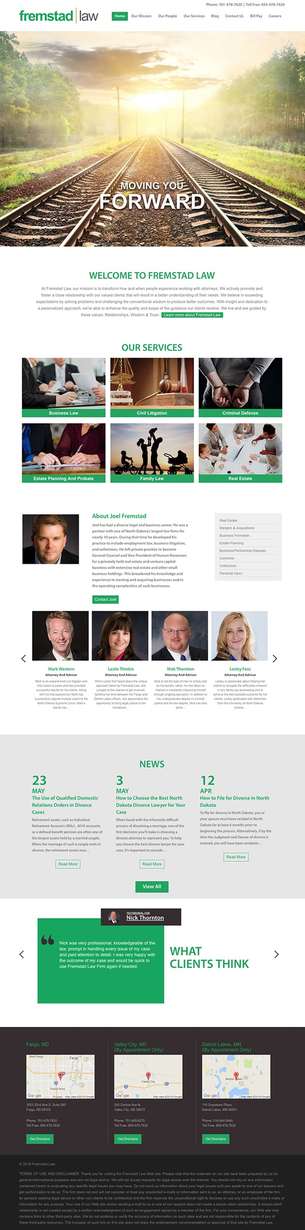 Law Firm Website for Fremstad Law
