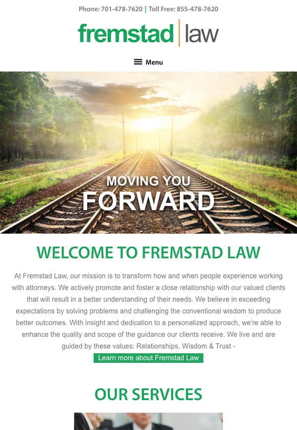 Mobile Friendly Law Firm Webiste for Fremstad Law