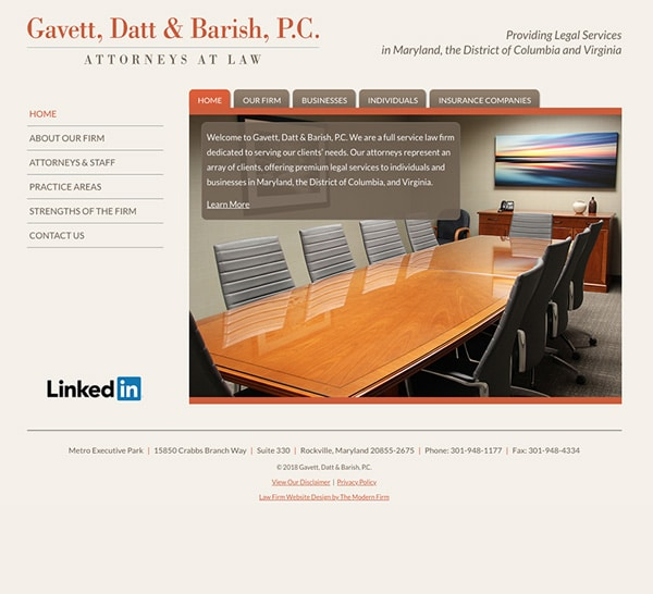 Law Firm Website for Gavett, Datt & Barish, P.C.