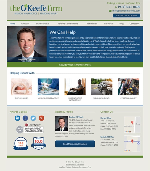 Law Firm Website Design for The O'Keefe Firm