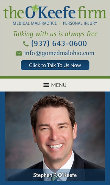 Responsive Mobile Attorney Website for The O'Keefe Firm
