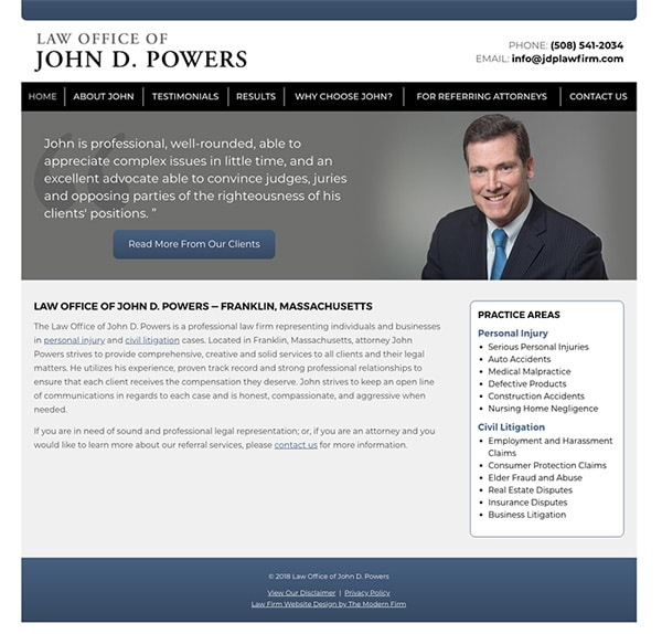 Law Firm Website Design for Law Office of John D. Powers