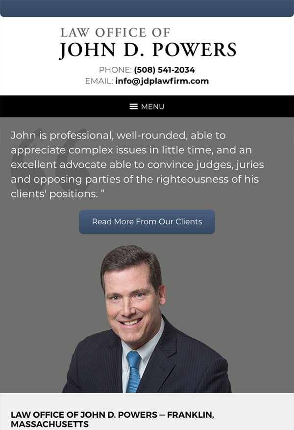 Mobile Friendly Law Firm Webiste for Law Office of John D. Powers