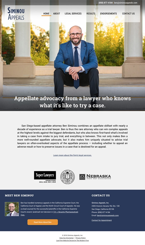 Law Firm Website Design for Siminou Appeals, Inc.