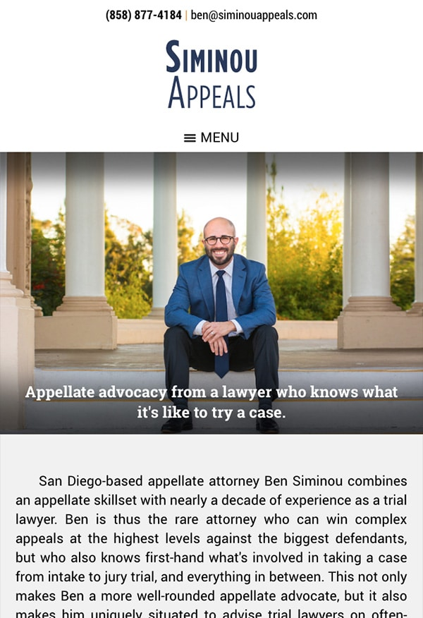 Mobile Friendly Law Firm Webiste for Siminou Appeals, Inc.