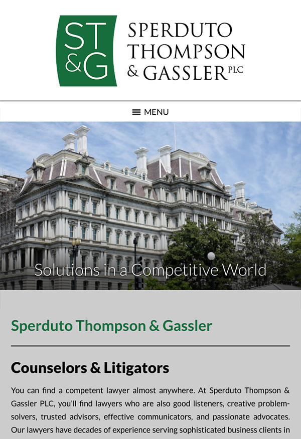Mobile Friendly Law Firm Webiste for Sperduto Thompson & Gassler PLC